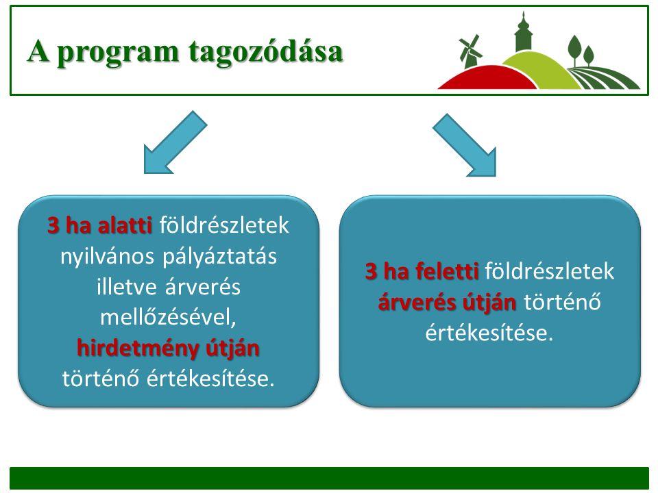 A program tagozódása 3 ha alatti hirdetmény útján 3 ha alatti földrészletek nyilvános pályáztatás illetve árverés mellőzésével, hirdetmény útján történő értékesítése.