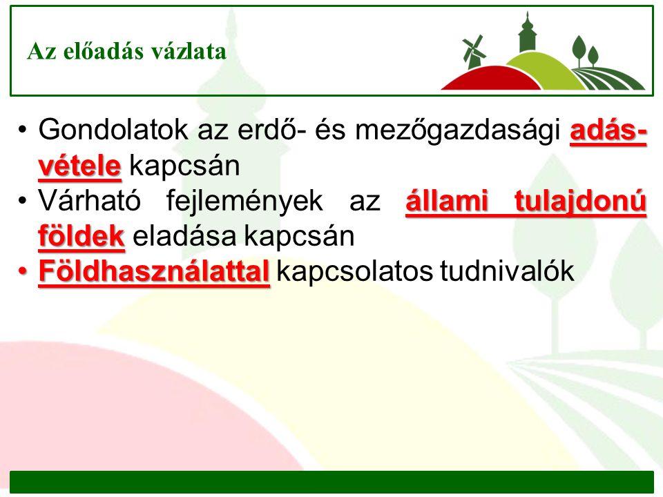 Jogszabályi környezet (Törvények és módosítások) 1.A mező- és erdőgazdasági földek forgalmáról szóló 2013.
