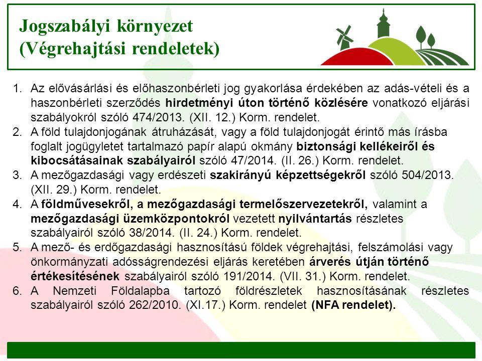 Jogszabályi környezet (Végrehajtási rendeletek) 1.Az elővásárlási és előhaszonbérleti jog gyakorlása érdekében az adás-vételi és a haszonbérleti szerződés hirdetményi úton történő közlésére vonatkozó eljárási szabályokról szóló 474/2013.