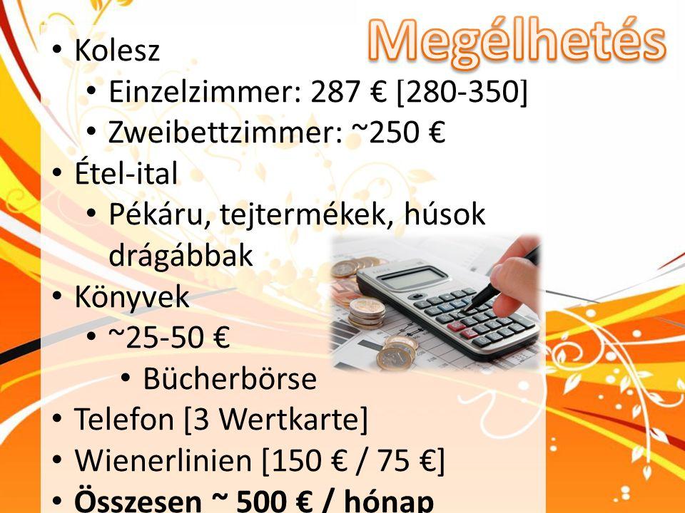 Kolesz Einzelzimmer: 287 € [280-350] Zweibettzimmer: ~250 € Étel-ital Pékáru, tejtermékek, húsok drágábbak Könyvek ~25-50 € Bücherbörse Telefon [3 Wer