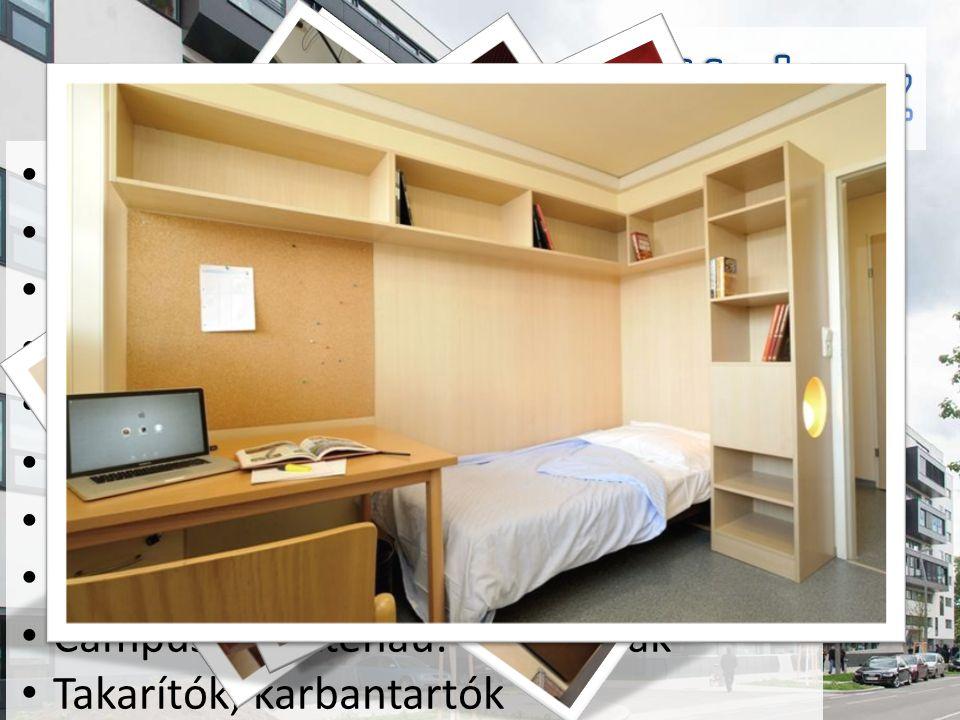 1 apartmanra fürdő [max 2 személy] Igényes konyha, zárható szekrényekkel Konditerem [30 € / szemeszter] Szauna Partyraum, Clubraum [ingyenes] TV szoba Parkoló Biliardzimmer [2 € / asztal / óra] Campus Brigittenau: 6000+ diák Takarítók, karbantartók