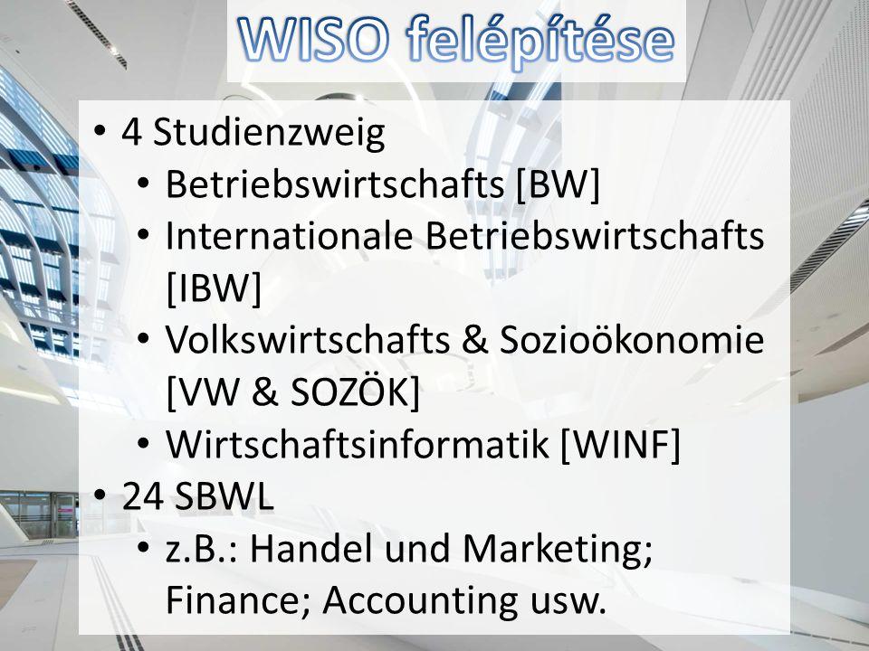 4 Studienzweig Betriebswirtschafts [BW] Internationale Betriebswirtschafts [IBW] Volkswirtschafts & Sozioökonomie [VW & SOZÖK] Wirtschaftsinformatik [WINF] 24 SBWL z.B.: Handel und Marketing; Finance; Accounting usw.