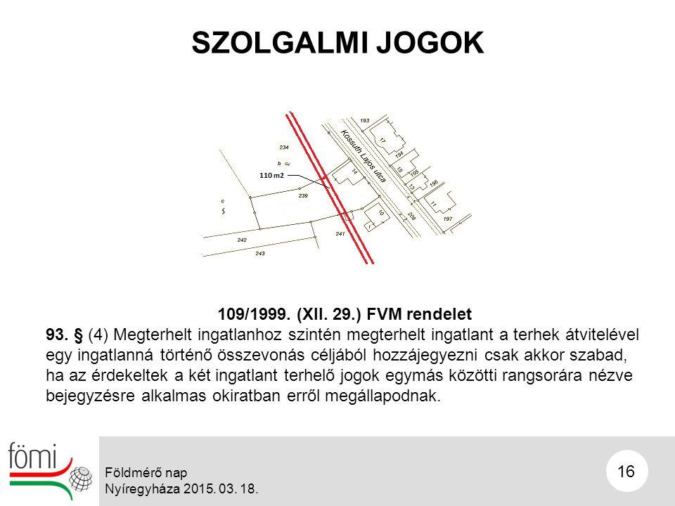 SZOLGALMI JOGOK 16 Földmérő nap Nyíregyháza 2015. 03.