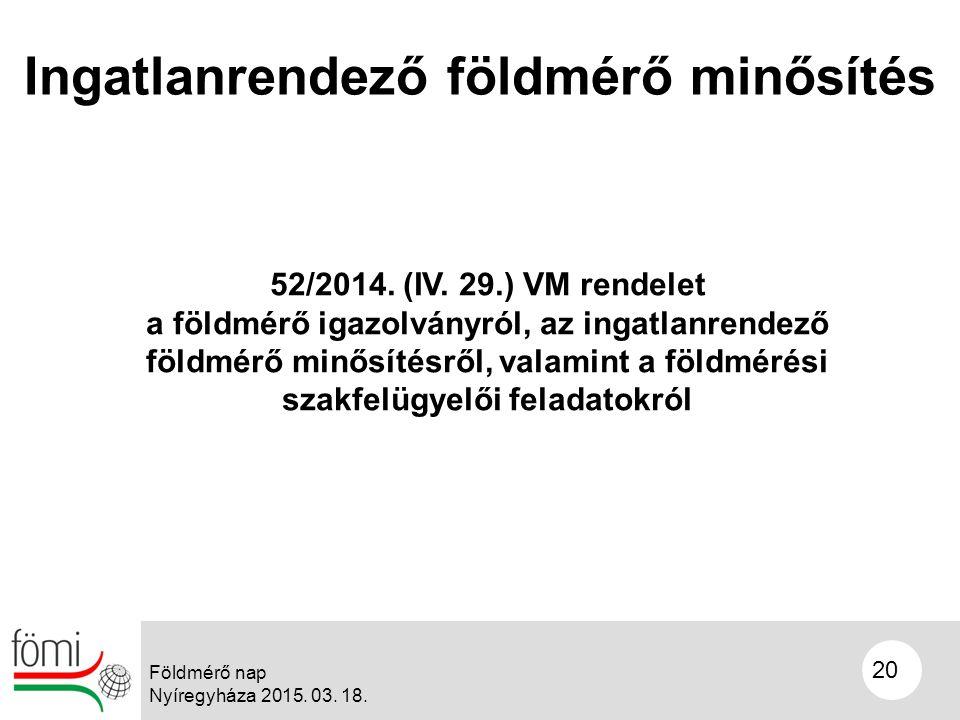 20 Ingatlanrendező földmérő minősítés 52/2014. (IV.