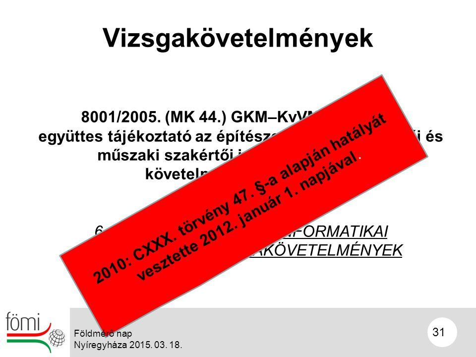 31 Vizsgakövetelmények 8001/2005.