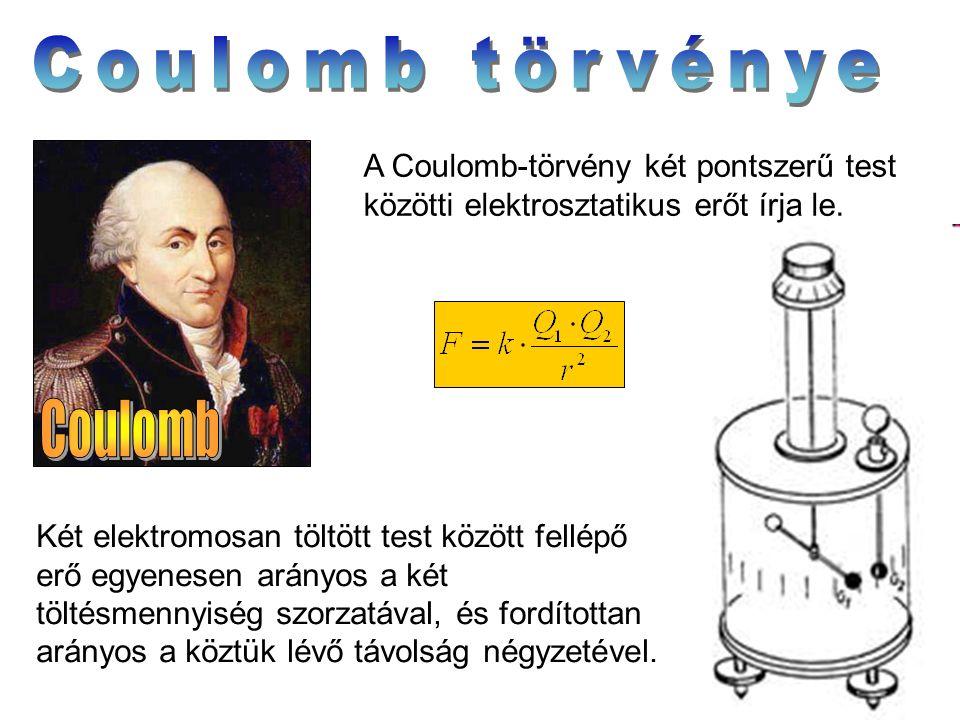 A Coulomb-törvény két pontszerű test közötti elektrosztatikus erőt írja le. Két elektromosan töltött test között fellépő erő egyenesen arányos a két t