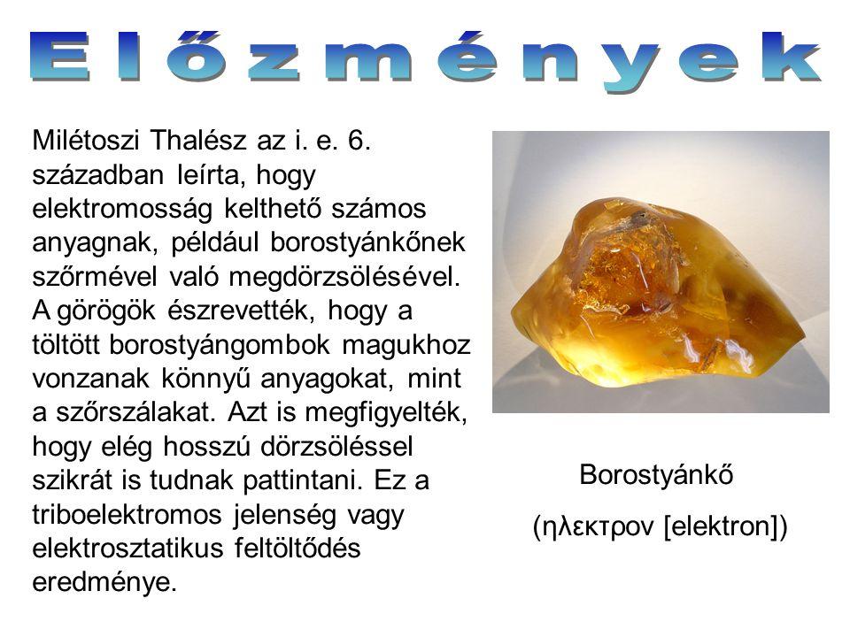 Borostyánkő (ηλεκτρον [elektron]) Milétoszi Thalész az i. e. 6. században leírta, hogy elektromosság kelthető számos anyagnak, például borostyánkőnek