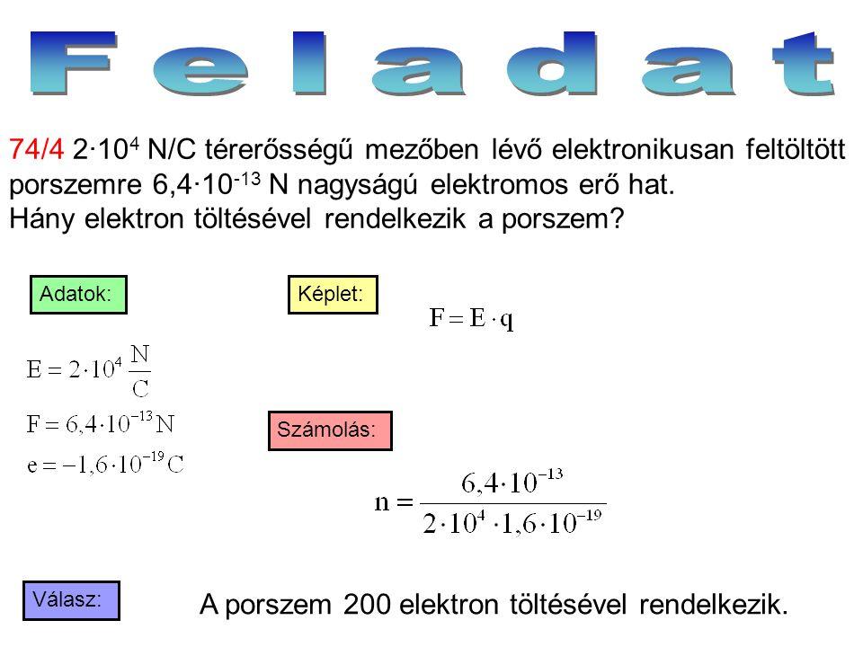 Válasz: Számolás: Képlet:Adatok: 74/4 2·10 4 N/C térerősségű mezőben lévő elektronikusan feltöltött porszemre 6,4·10 -13 N nagyságú elektromos erő hat