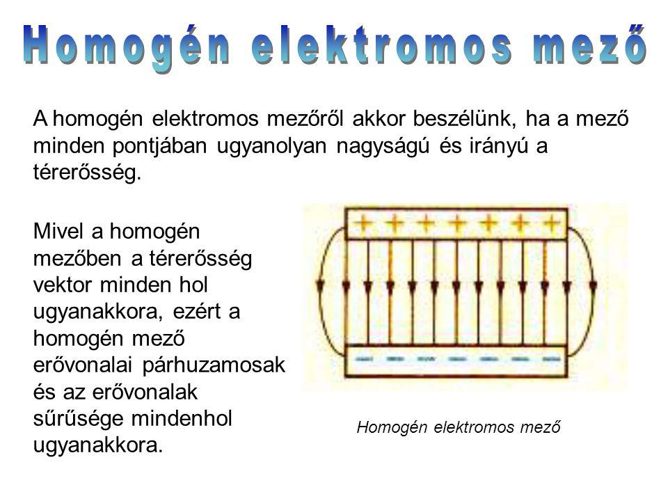 Mivel a homogén mezőben a térerősség vektor minden hol ugyanakkora, ezért a homogén mező erővonalai párhuzamosak és az erővonalak sűrűsége mindenhol u