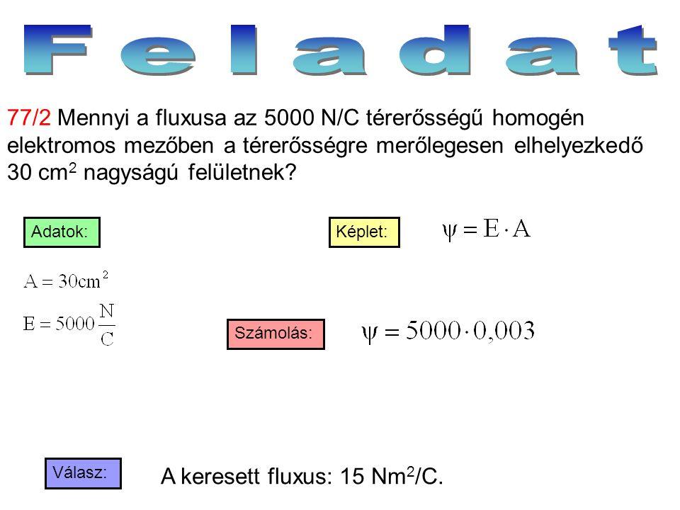 Válasz: Számolás: Képlet:Adatok: 77/2 Mennyi a fluxusa az 5000 N/C térerősségű homogén elektromos mezőben a térerősségre merőlegesen elhelyezkedő 30 c