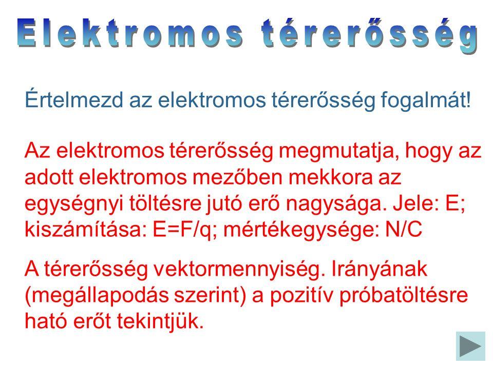 Az elektromos térerősség megmutatja, hogy az adott elektromos mezőben mekkora az egységnyi töltésre jutó erő nagysága. Jele: E; kiszámítása: E=F/q; mé