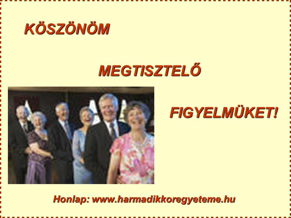 KÖSZÖNÖM MEGTISZTELŐ MEGTISZTELŐFIGYELMÜKET! Honlap: www.harmadikkoregyeteme.hu