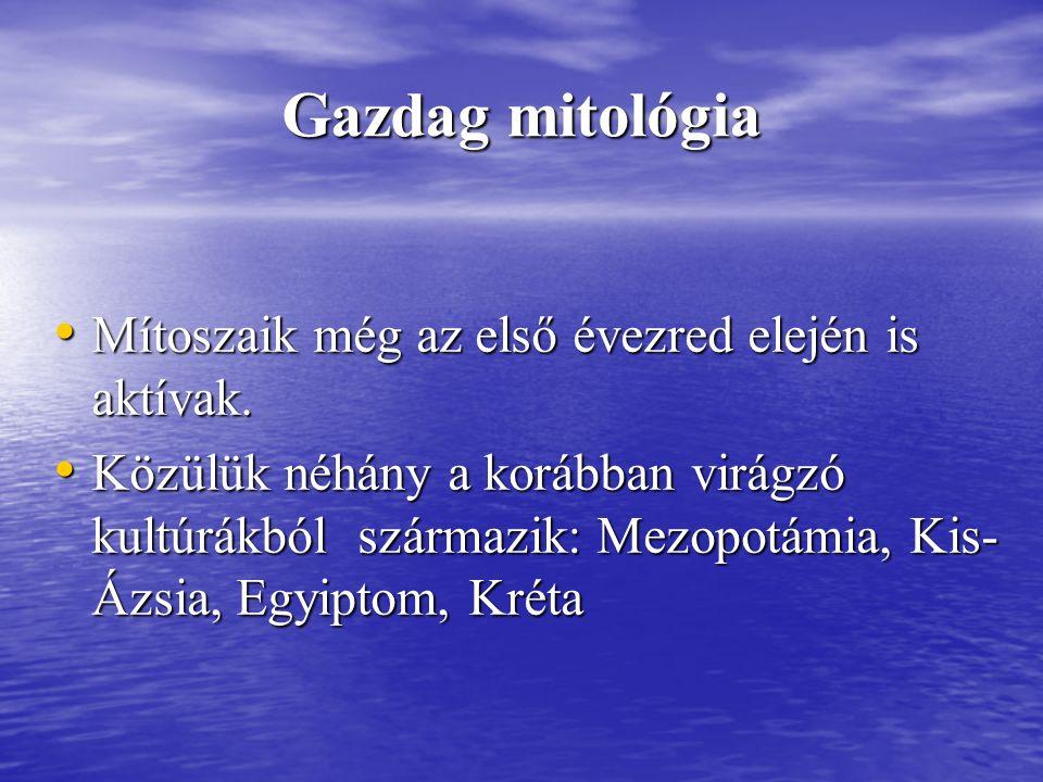 Az istenképzetek változása Zeusz eredetileg a villám és az eső istene volt, még korábban magukkal a természeti jelenségekkel volt azonos.