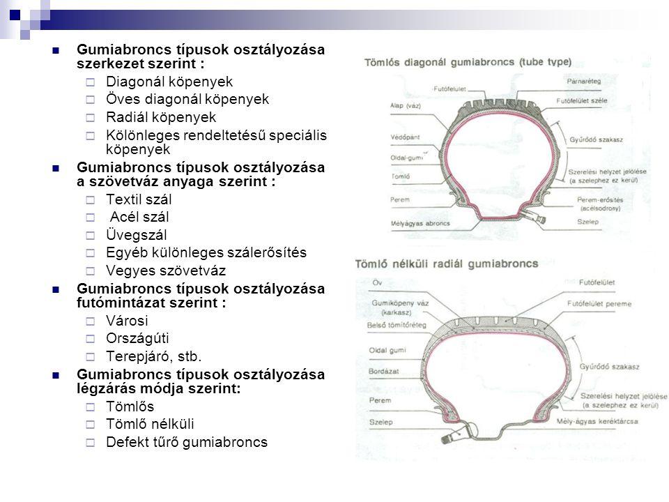 Gumiabroncs típusok osztályozása szerkezet szerint :  Diagonál köpenyek  Öves diagonál köpenyek  Radiál köpenyek  Kölönleges rendeltetésű speciális köpenyek Gumiabroncs típusok osztályozása a szövetváz anyaga szerint :  Textil szál  Acél szál  Üvegszál  Egyéb különleges szálerősítés  Vegyes szövetváz Gumiabroncs típusok osztályozása futómintázat szerint :  Városi  Országúti  Terepjáró, stb.