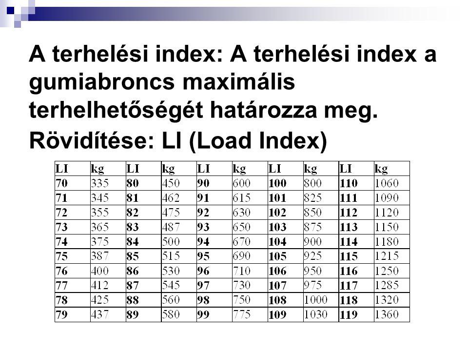 A terhelési index: A terhelési index a gumiabroncs maximális terhelhetőségét határozza meg.