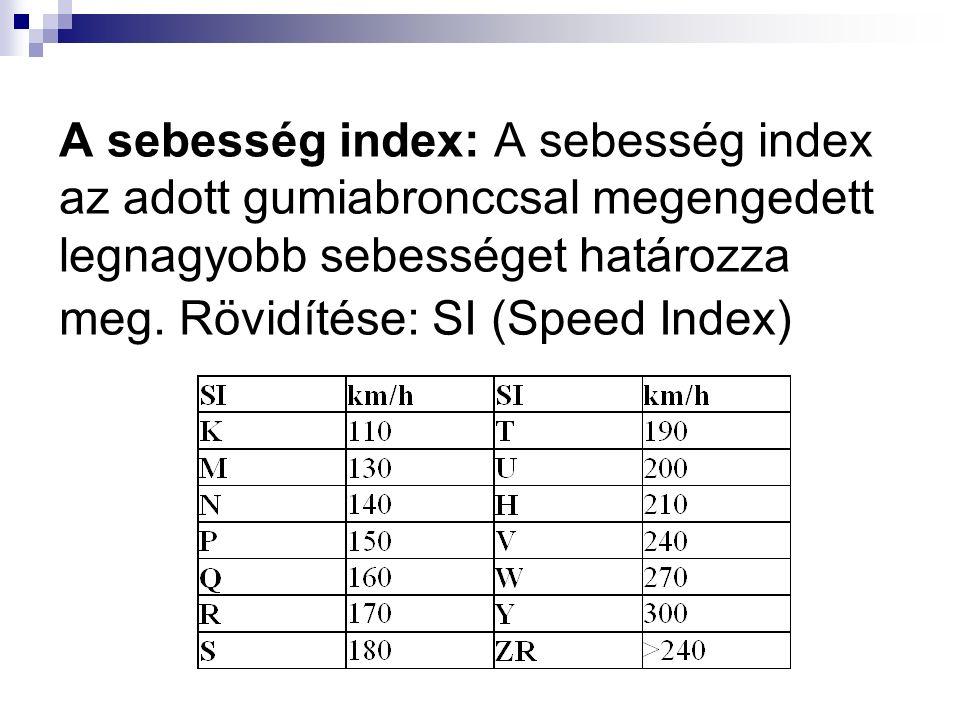 A sebesség index: A sebesség index az adott gumiabronccsal megengedett legnagyobb sebességet határozza meg.