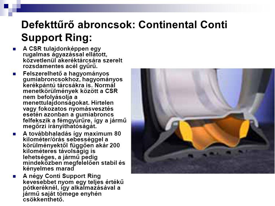 Defekttűrő abroncsok: Continental Conti Support Ring: A CSR tulajdonképpen egy rugalmas ágyazással ellátott, közvetlenül akeréktárcsára szerelt rozsdamentes acél gyűrű.
