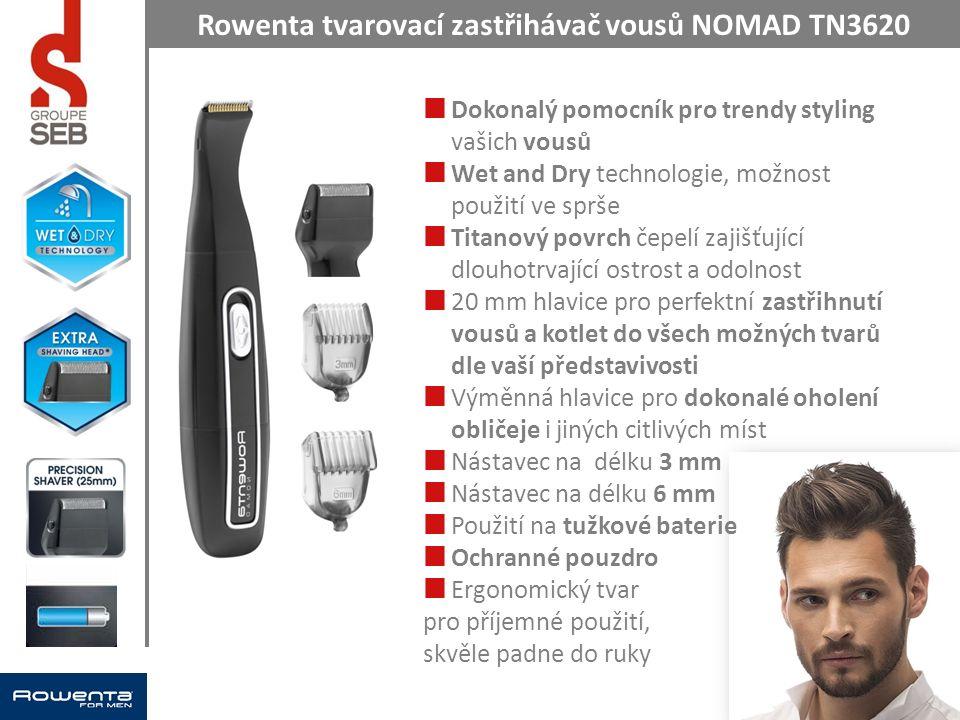 Rowenta tvarovací zastřihávač vousů NOMAD TN3620 Dokonalý pomocník pro trendy styling vašich vousů Wet and Dry technologie, možnost použití ve sprše T