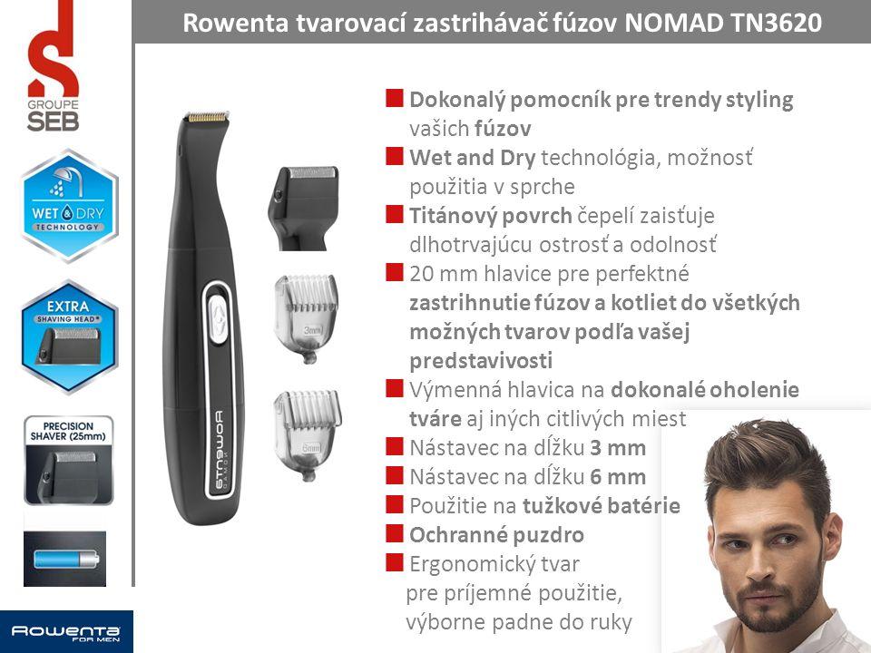 Rowenta tvarovací zastrihávač fúzov NOMAD TN3620 Dokonalý pomocník pre trendy styling vašich fúzov Wet and Dry technológia, možnosť použitia v sprche