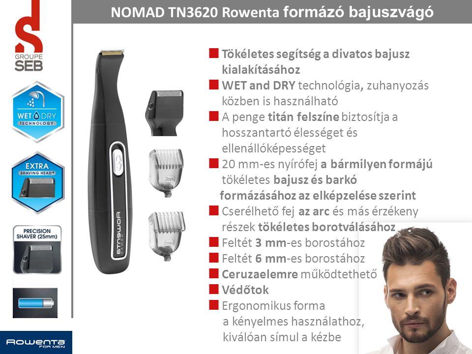 NOMAD TN3620 Rowenta formázó bajuszvágó Tökéletes segítség a divatos bajusz kialakításához WET and DRY technológia, zuhanyozás közben is használható A penge titán felszíne biztosítja a hosszantartó élességet és ellenállóképességet 20 mm-es nyírófej a bármilyen formájú tökéletes bajusz és barkó formázásához az elképzelése szerint Cserélhető fej az arc és más érzékeny részek tökéletes borotválásához Feltét 3 mm-es borostához Feltét 6 mm-es borostához Ceruzaelemre működtethető Védőtok Ergonomikus forma a kényelmes használathoz, kiválóan símul a kézbe