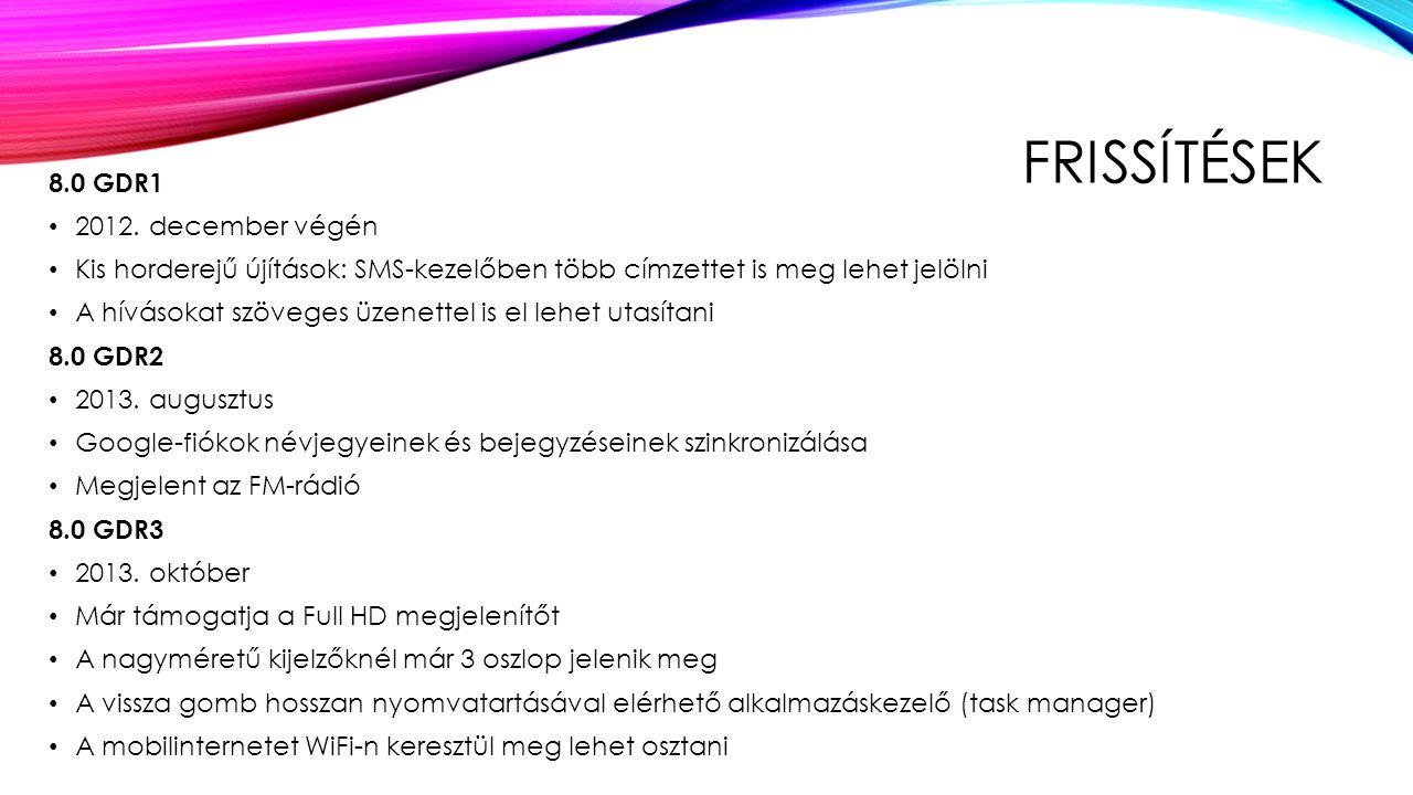 FRISSÍTÉSEK 8.0 GDR1 2012.