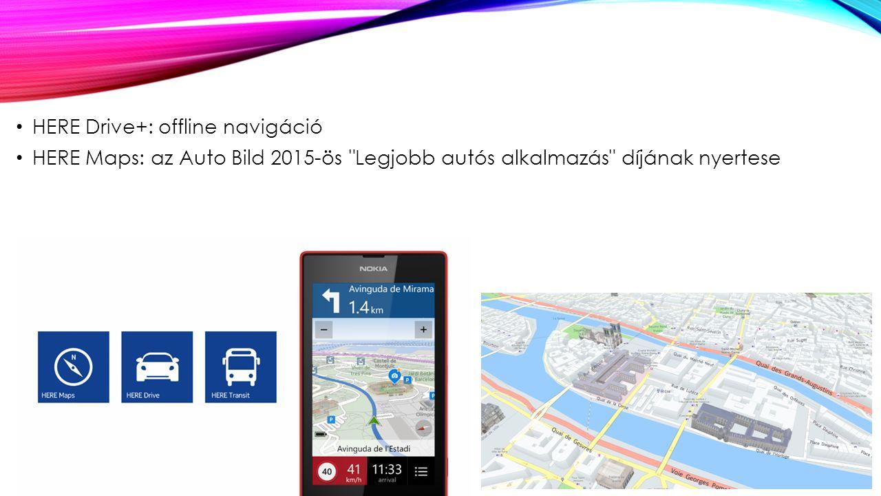 HERE Drive+: offline navigáció HERE Maps: az Auto Bild 2015-ös Legjobb autós alkalmazás díjának nyertese