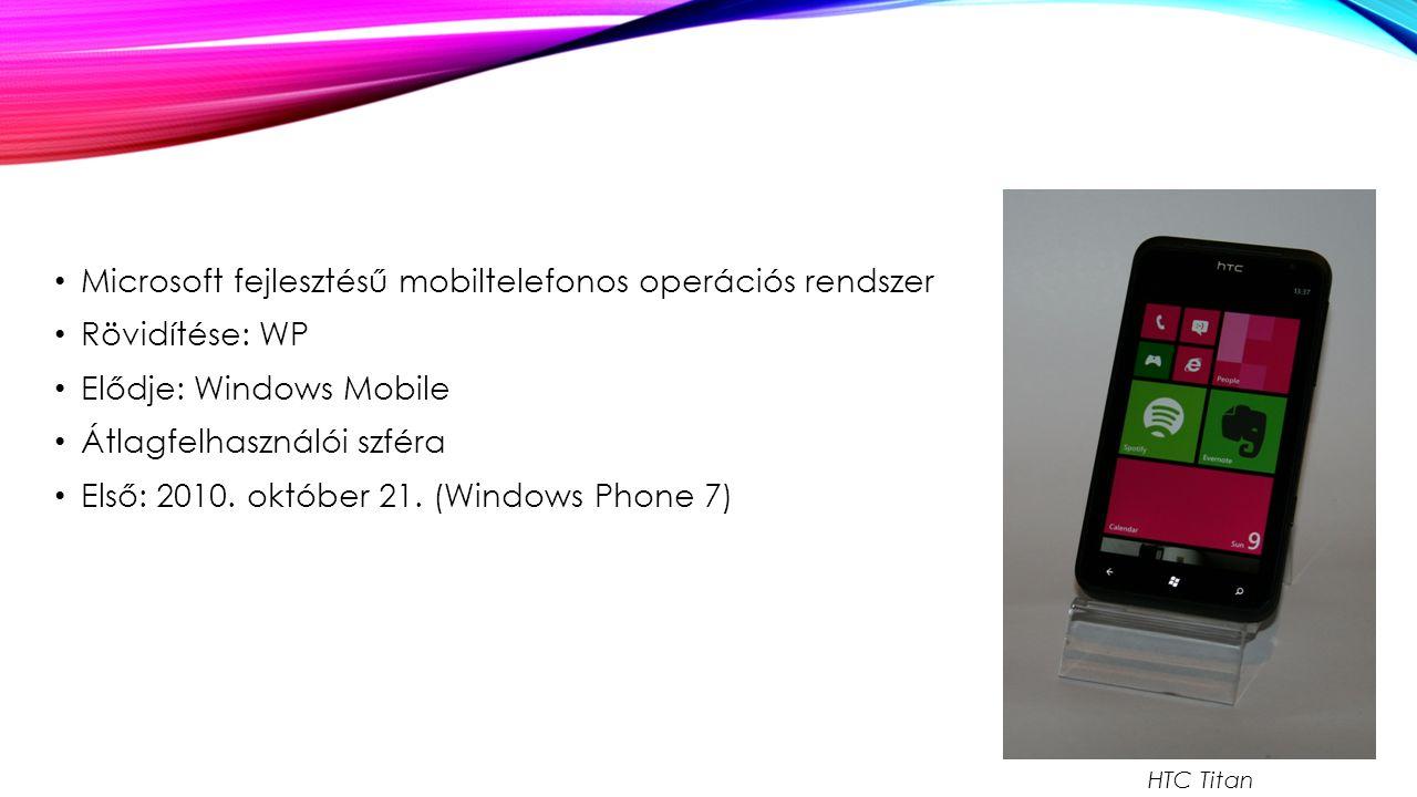 Microsoft fejlesztésű mobiltelefonos operációs rendszer Rövidítése: WP Elődje: Windows Mobile Átlagfelhasználói szféra Első: 2010.
