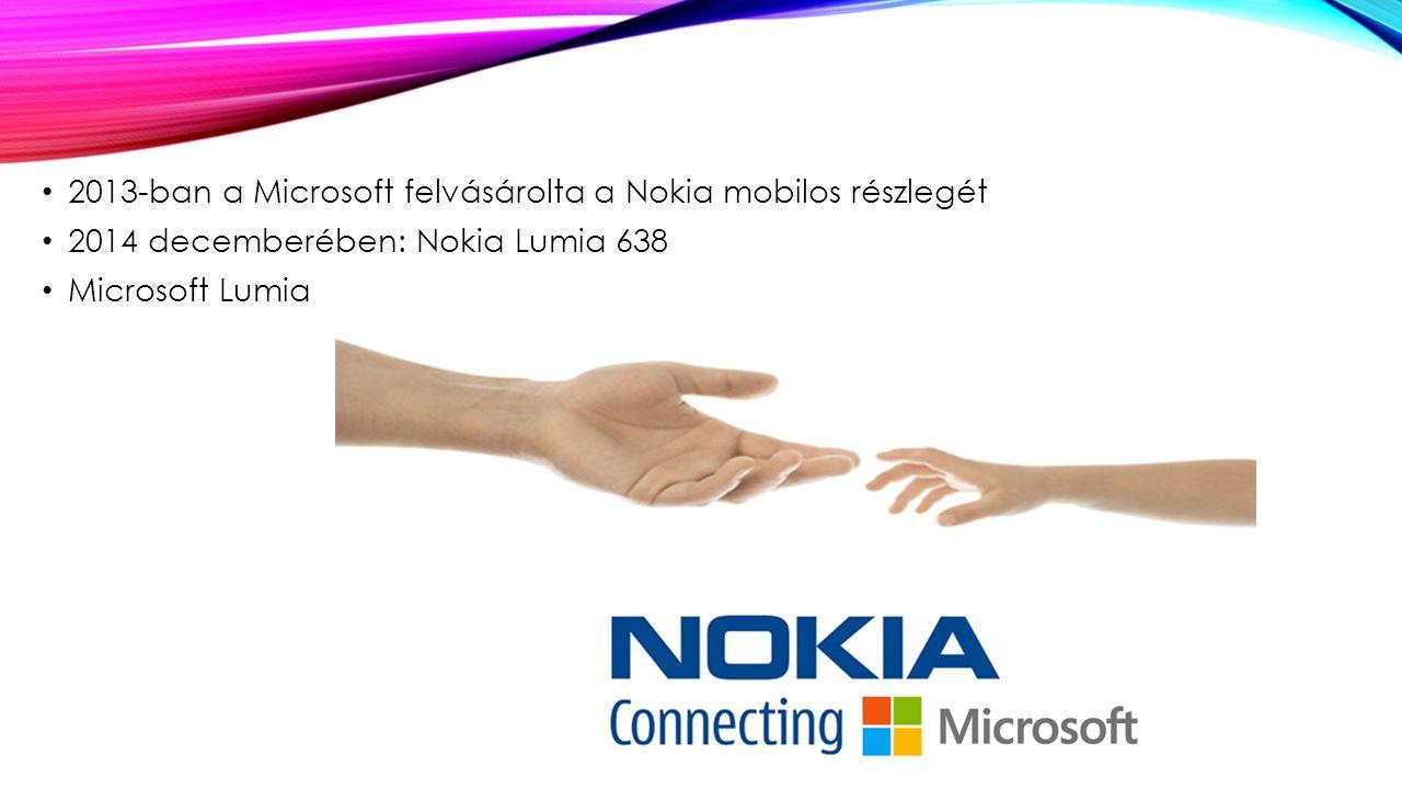 2013-ban a Microsoft felvásárolta a Nokia mobilos részlegét 2014 decemberében: Nokia Lumia 638 Microsoft Lumia