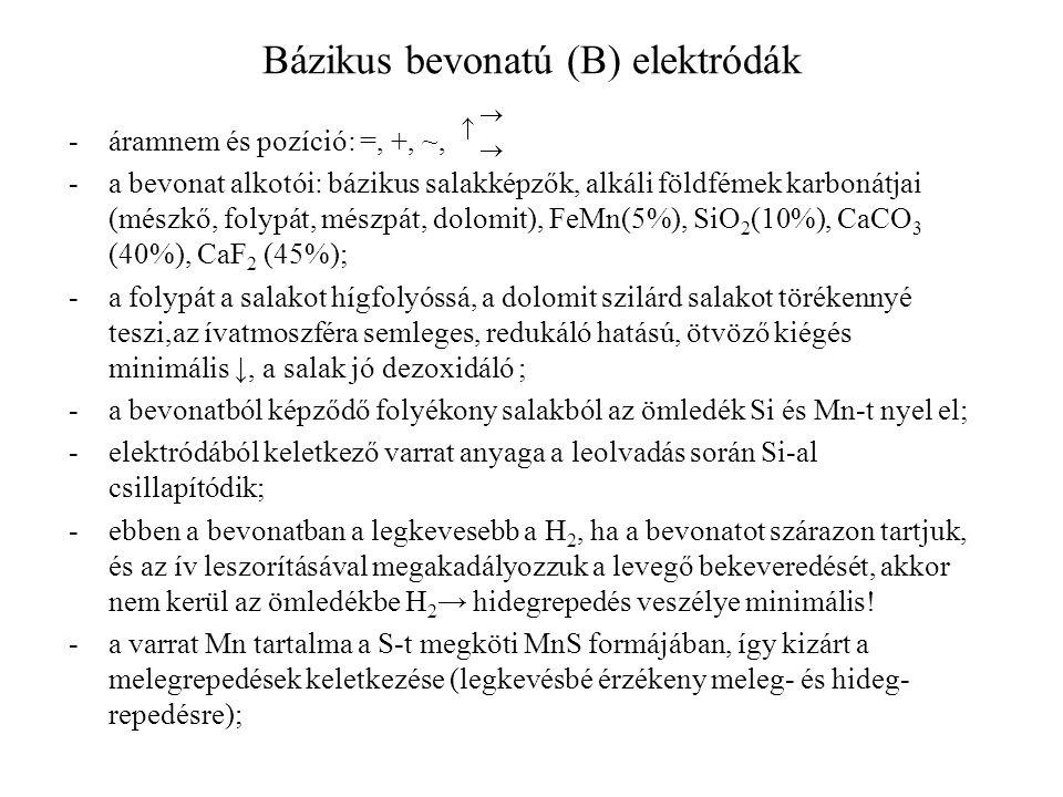 Bázikus bevonatú (B) elektródák -áramnem és pozíció: =, +, ~, -a bevonat alkotói: bázikus salakképzők, alkáli földfémek karbonátjai (mészkő, folypát,