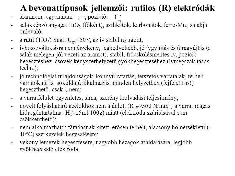 A bevonattípusok jellemzői: rutilos (R) elektródák -áramnem: egyenáram - ; ~, pozíció: -salakképző anyaga: TiO 2 (főként), szilikátok, karbonátok, fer