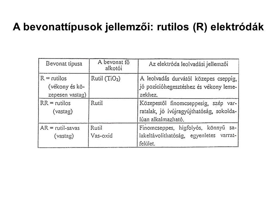 A bevonattípusok jellemzői: rutilos (R) elektródák