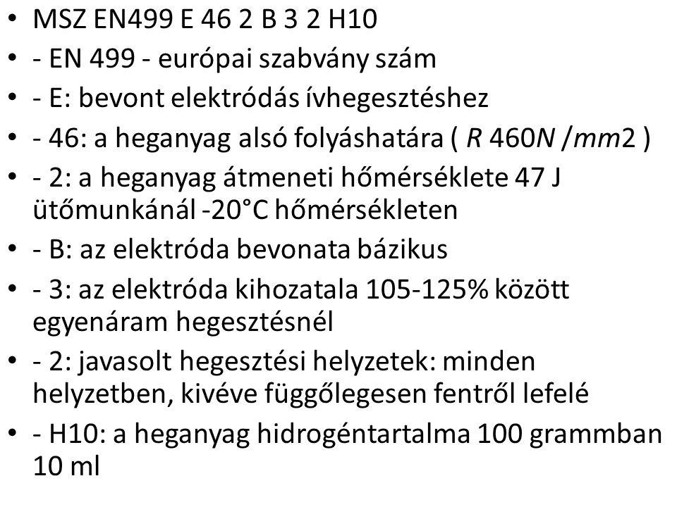 MSZ EN499 E 46 2 B 3 2 H10 - EN 499 - európai szabvány szám - E: bevont elektródás ívhegesztéshez - 46: a heganyag alsó folyáshatára ( R 460N /mm2 ) -