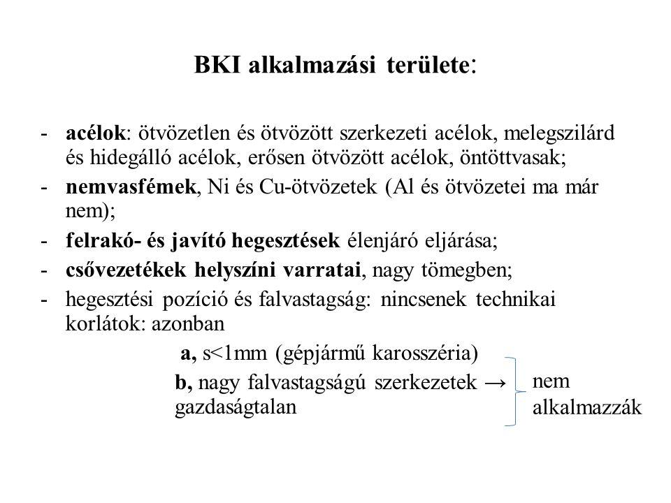 BKI alkalmazási területe : -acélok: ötvözetlen és ötvözött szerkezeti acélok, melegszilárd és hidegálló acélok, erősen ötvözött acélok, öntöttvasak; -