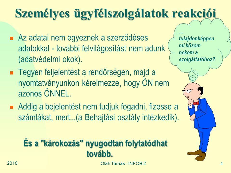 2010 Oláh Tamás - INFOBIZ4 Személyes ügyfélszolgálatok reakciói Az adatai nem egyeznek a szerződéses adatokkal - további felvilágosítást nem adunk (adatvédelmi okok).