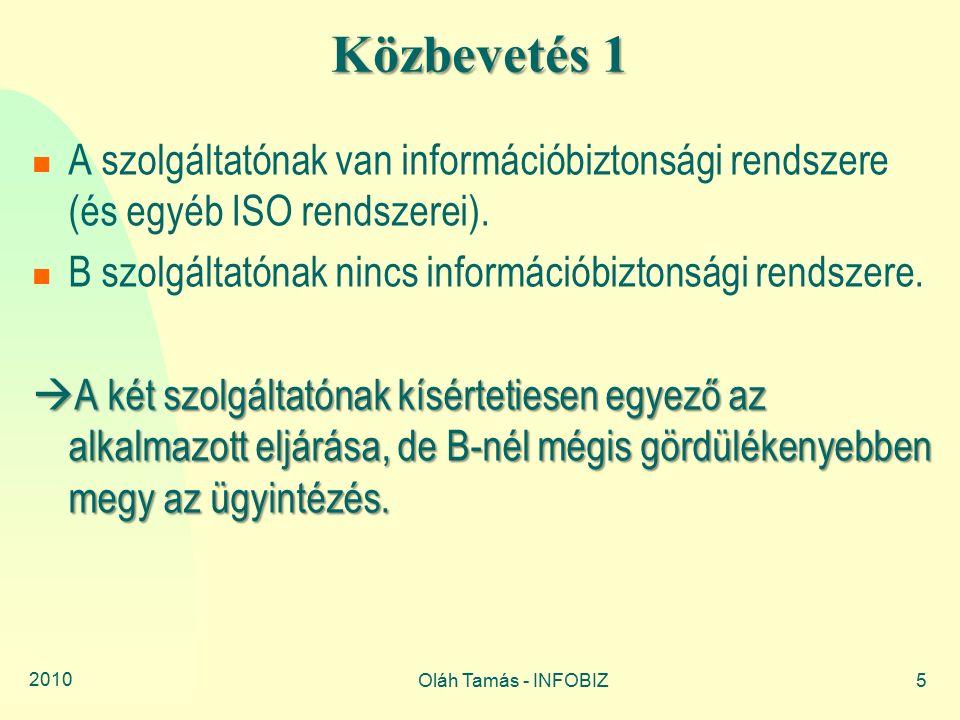 2010 Oláh Tamás - INFOBIZ5 Közbevetés 1 A szolgáltatónak van információbiztonsági rendszere (és egyéb ISO rendszerei). B szolgáltatónak nincs informác