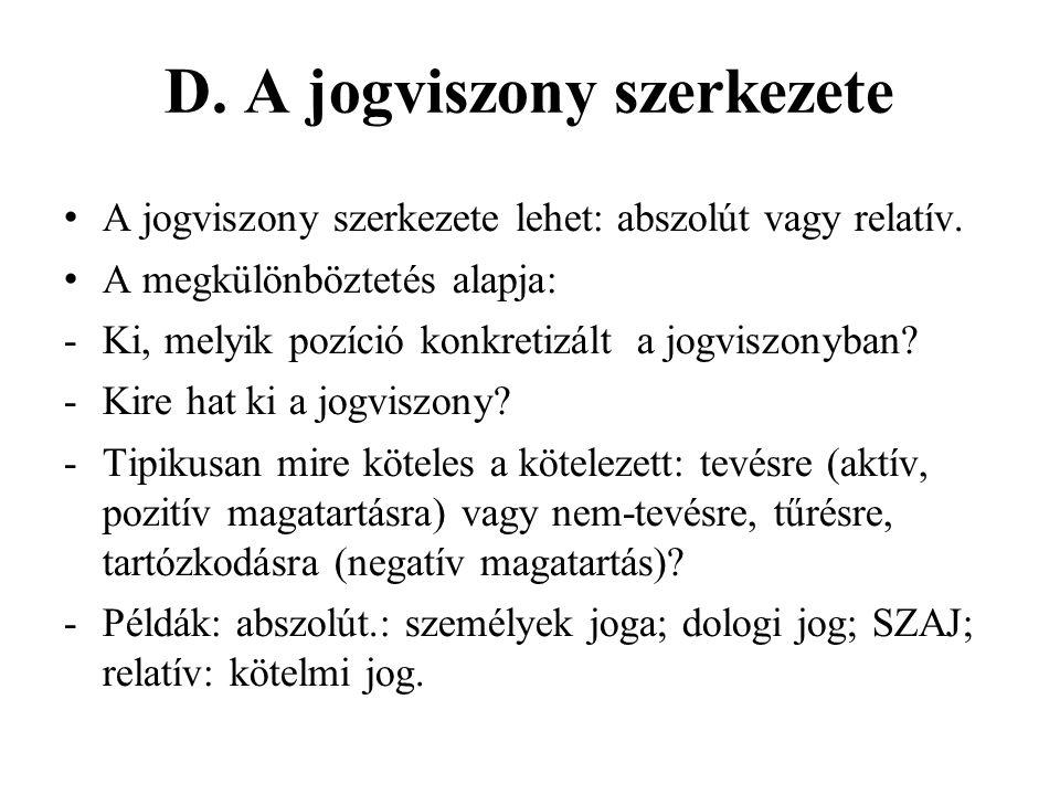 D. A jogviszony szerkezete A jogviszony szerkezete lehet: abszolút vagy relatív.