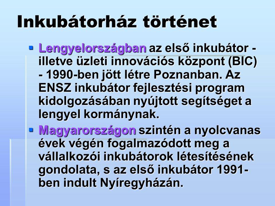 Inkubátorház történet  Lengyelországban az első inkubátor - illetve üzleti innovációs központ (BIC) - 1990-ben jött létre Poznanban.