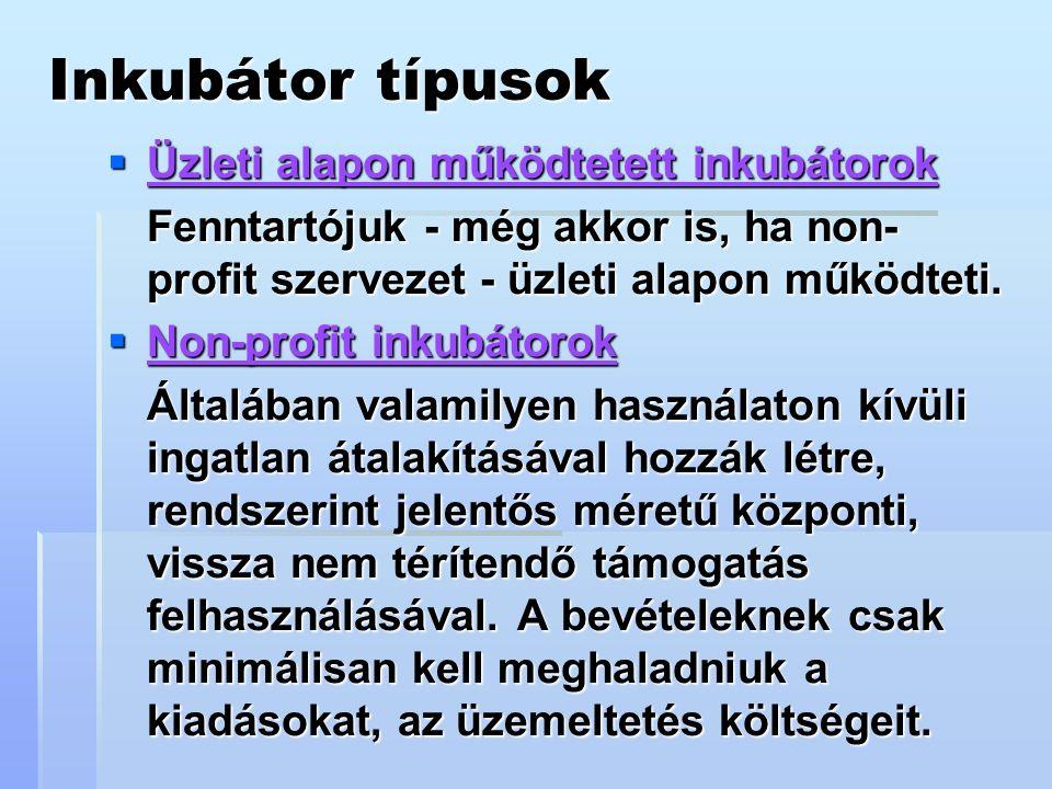 Inkubátor típusok  Üzleti alapon működtetett inkubátorok Fenntartójuk - még akkor is, ha non- profit szervezet - üzleti alapon működteti.
