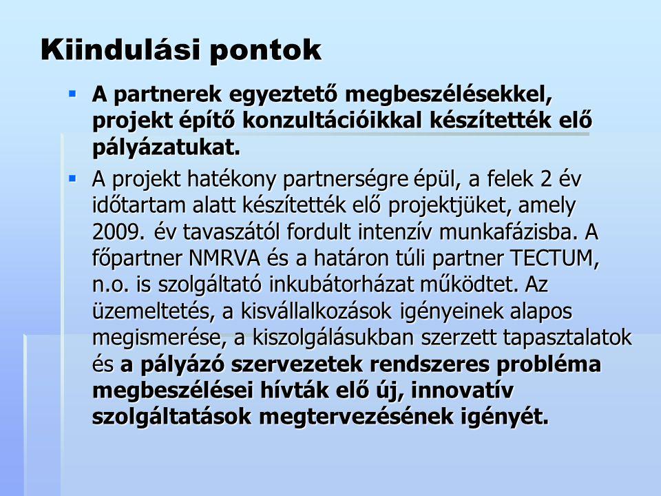 Kiindulási pontok  A partnerek egyeztető megbeszélésekkel, projekt építő konzultációikkal készítették elő pályázatukat.