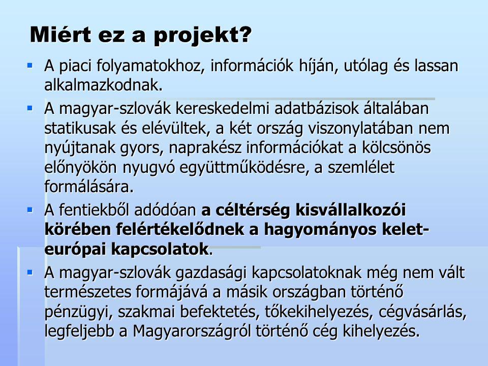 Miért ez a projekt.  A piaci folyamatokhoz, információk híján, utólag és lassan alkalmazkodnak.