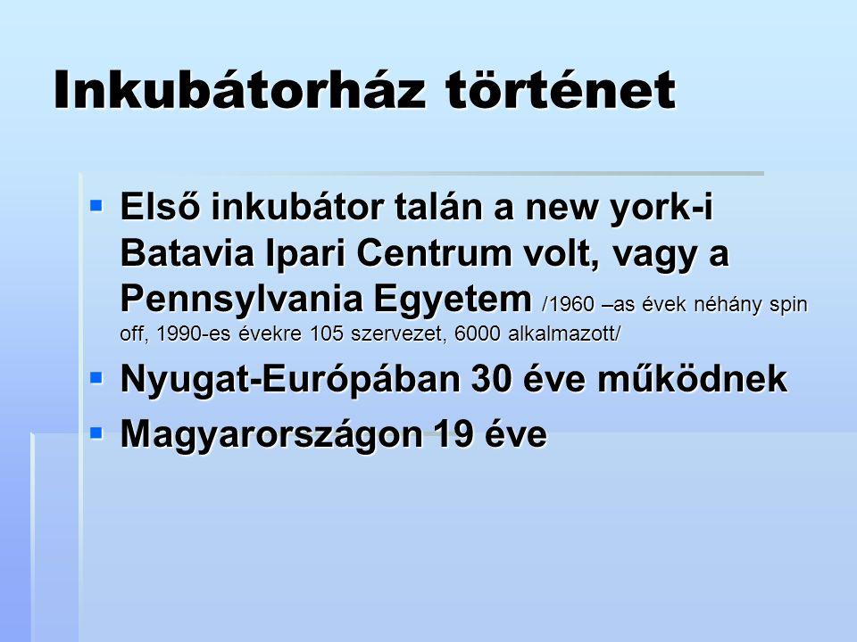 Inkubátorház történet  Első inkubátor talán a new york-i Batavia Ipari Centrum volt, vagy a Pennsylvania Egyetem /1960 –as évek néhány spin off, 1990-es évekre 105 szervezet, 6000 alkalmazott/  Nyugat-Európában 30 éve működnek  Magyarországon 19 éve