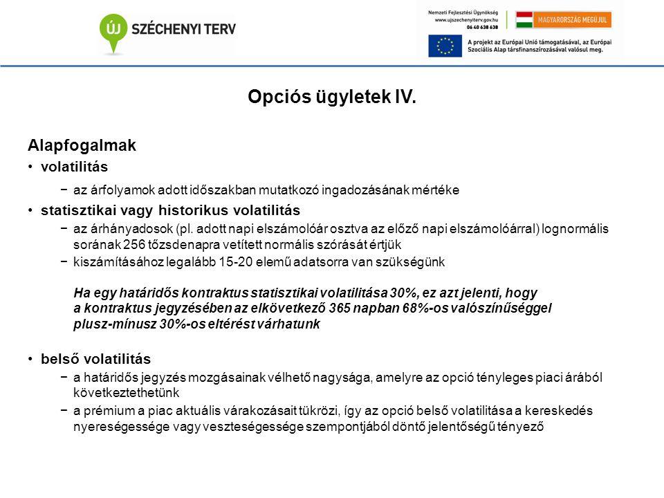 Opciós ügyletek IV.