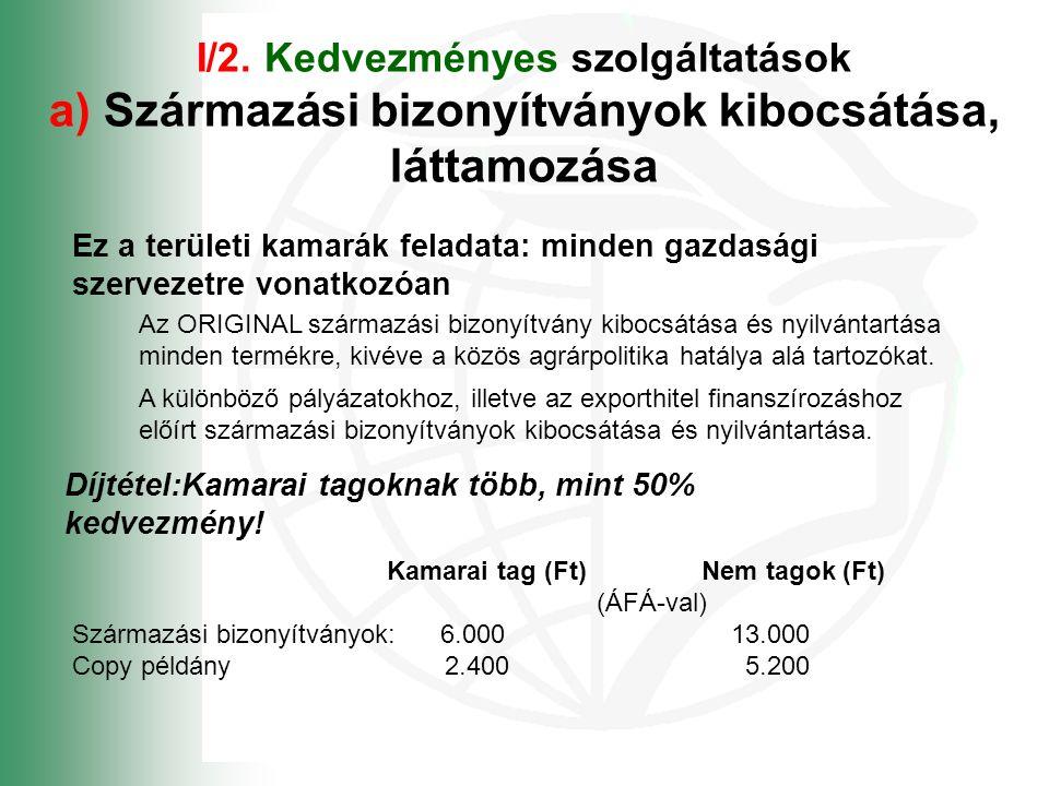 I/2. Kedvezményes szolgáltatások a) Származási bizonyítványok kibocsátása, láttamozása Ez a területi kamarák feladata: minden gazdasági szervezetre vo