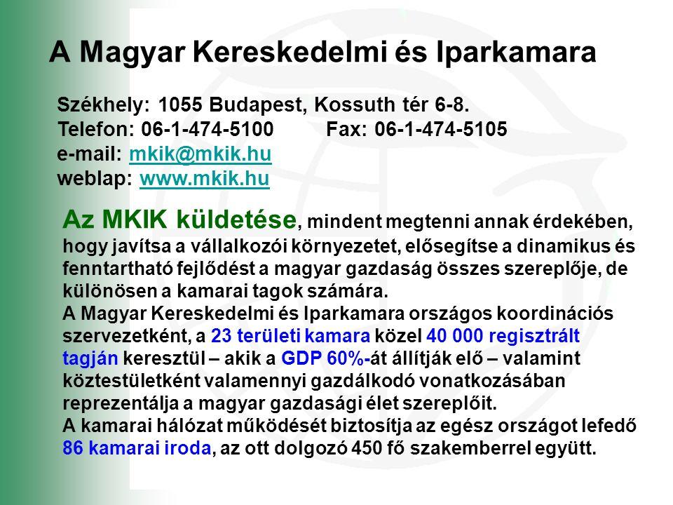 A Magyar Kereskedelmi és Iparkamara Székhely: 1055 Budapest, Kossuth tér 6-8.