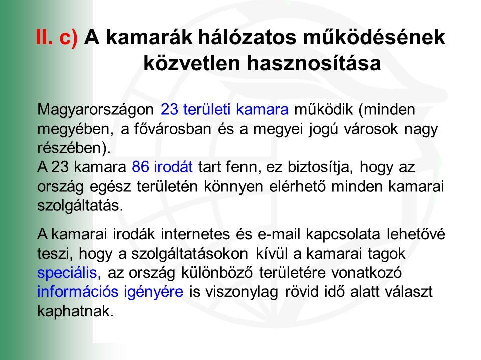 II. c) A kamarák hálózatos működésének közvetlen hasznosítása Magyarországon 23 területi kamara működik (minden megyében, a fővárosban és a megyei jog