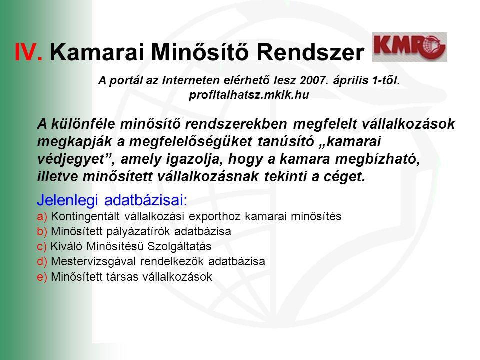 IV.Kamarai Minősítő Rendszer A portál az Interneten elérhető lesz 2007.