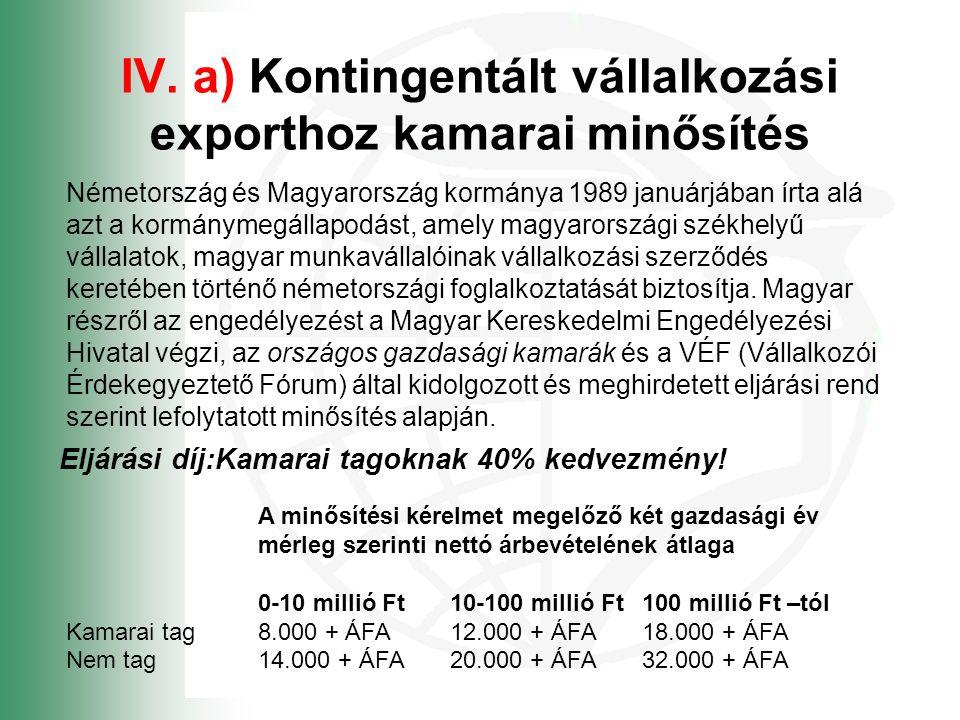 IV. a) Kontingentált vállalkozási exporthoz kamarai minősítés Németország és Magyarország kormánya 1989 januárjában írta alá azt a kormánymegállapodás