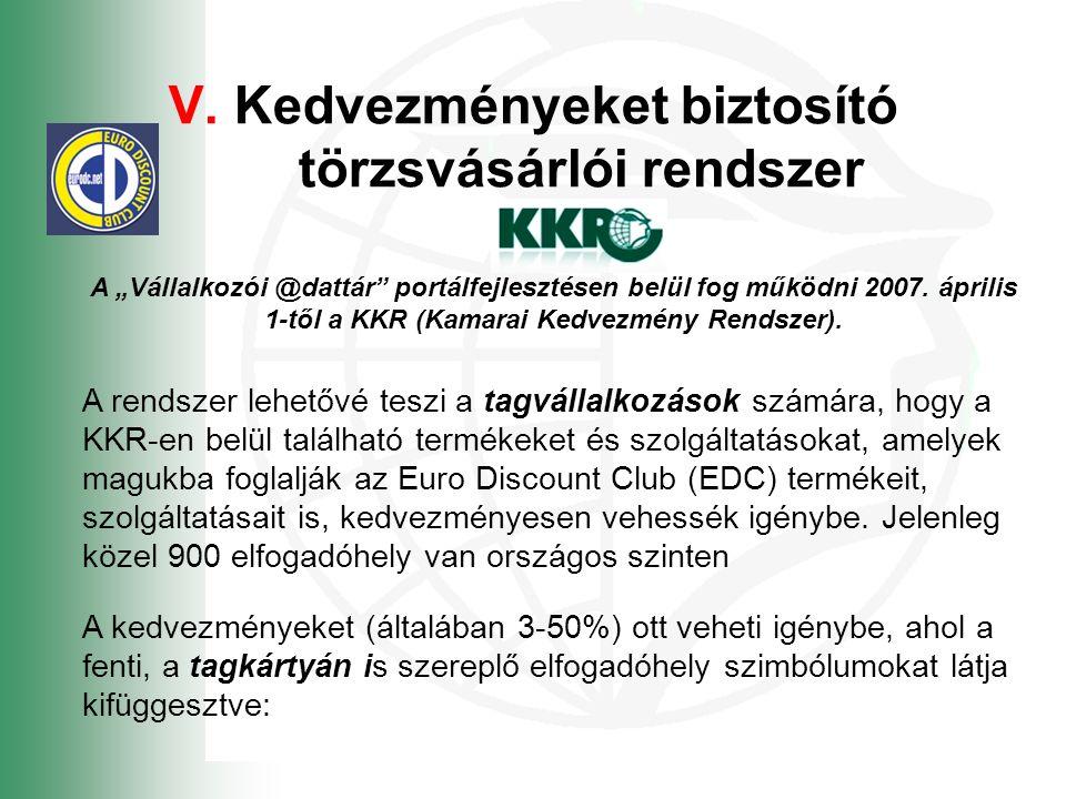 """V. Kedvezményeket biztosító törzsvásárlói rendszer A """"Vállalkozói @dattár"""" portálfejlesztésen belül fog működni 2007. április 1-től a KKR (Kamarai Ked"""