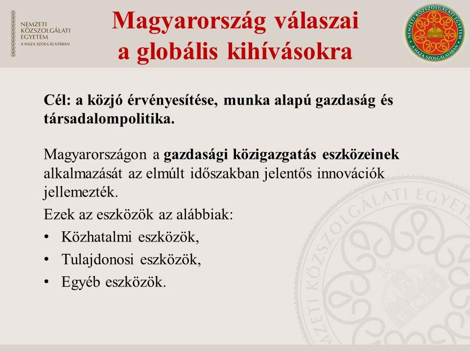 Magyarország válaszai a globális kihívásokra Cél: a közjó érvényesítése, munka alapú gazdaság és társadalompolitika.