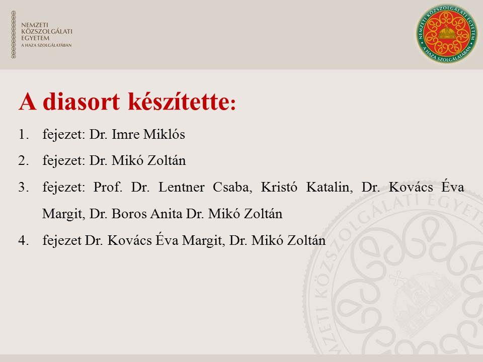 A diasort készítette : 1.fejezet: Dr. Imre Miklós 2.fejezet: Dr. Mikó Zoltán 3.fejezet: Prof. Dr. Lentner Csaba, Kristó Katalin, Dr. Kovács Éva Margit